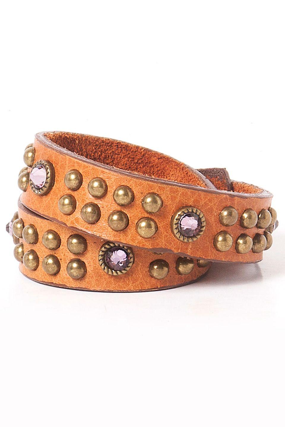 Leatherock Cassie Double Wrap Bracelet in Olden Tan - Beyond the Rack
