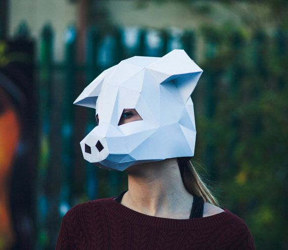paper pig mask papercraft template party mask diy instant