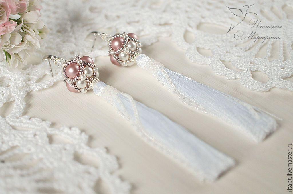 """Купить Серьги-кисти из бисера """"Pink"""" нежные серьги, серьги с жемчугом - бледно-розовый"""