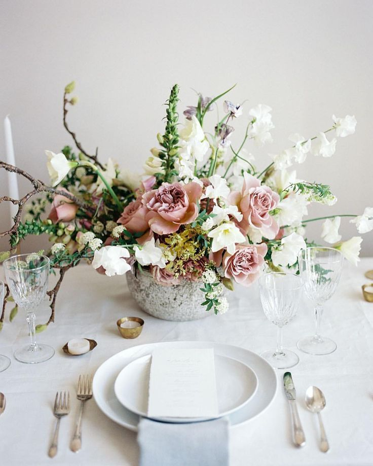 Celebrity Wedding Flowers Centerpieces: Ethereal Romantic Tablescape With Soft Romantic Details