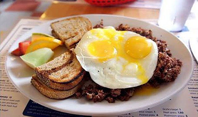 New favorite dish added by Contributing Chef Rob Gentile. #Smoked #meat #hash from Caplansky's Delicatessen. #grilled #fried #lean #smokedmeat #potato #onion #sunnysideup #eggs #rye #toast #bread #breakfast #hearty #fruit #eat #hungry #food #instagood #morning #toronto #canada #chefsfeed