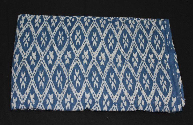 1 Yard Hand Block Printed Ikat Design Pure Cotton Jaipuri Vegetable Dye Fabric