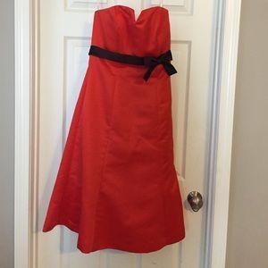 Saison Blanche Dresses & Skirts - Strapless Orange and Brown satin strapless