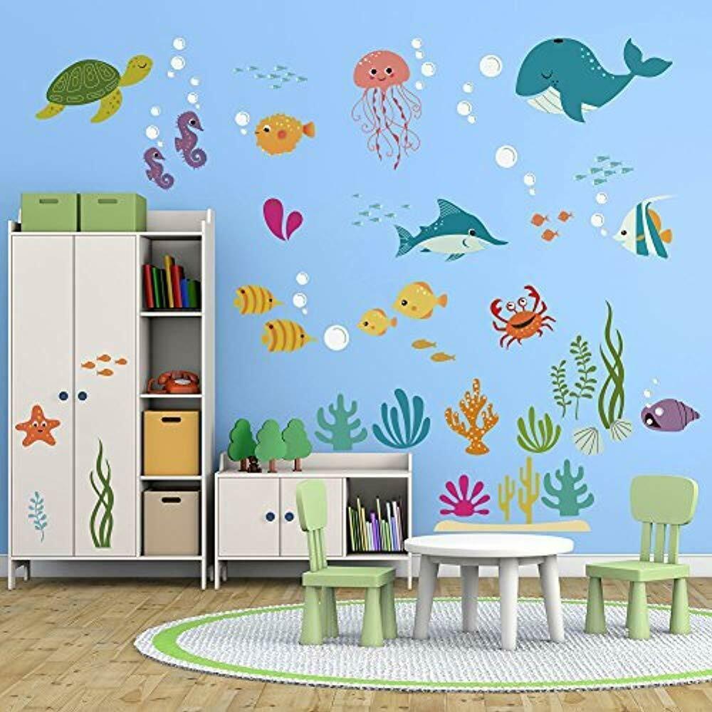 Under Sea Dolphin Fish Wall Stickers Kids Room Decor Vinyl Peel