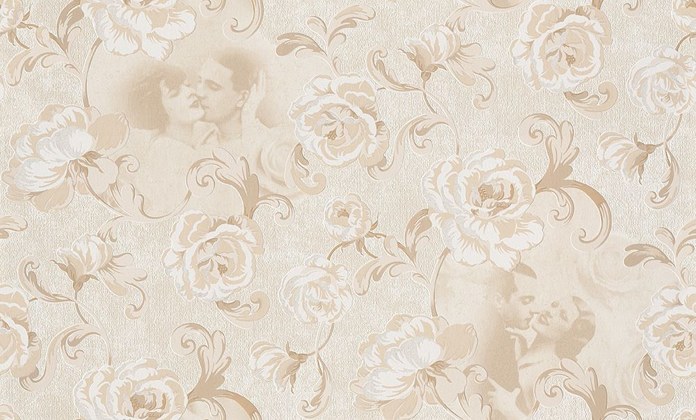 L`Amour Tapete 955596 Creme Rot Blumen , Retro , Ornament - Vlies - Kaufen bei SENDMAX GmbH & Co. KG