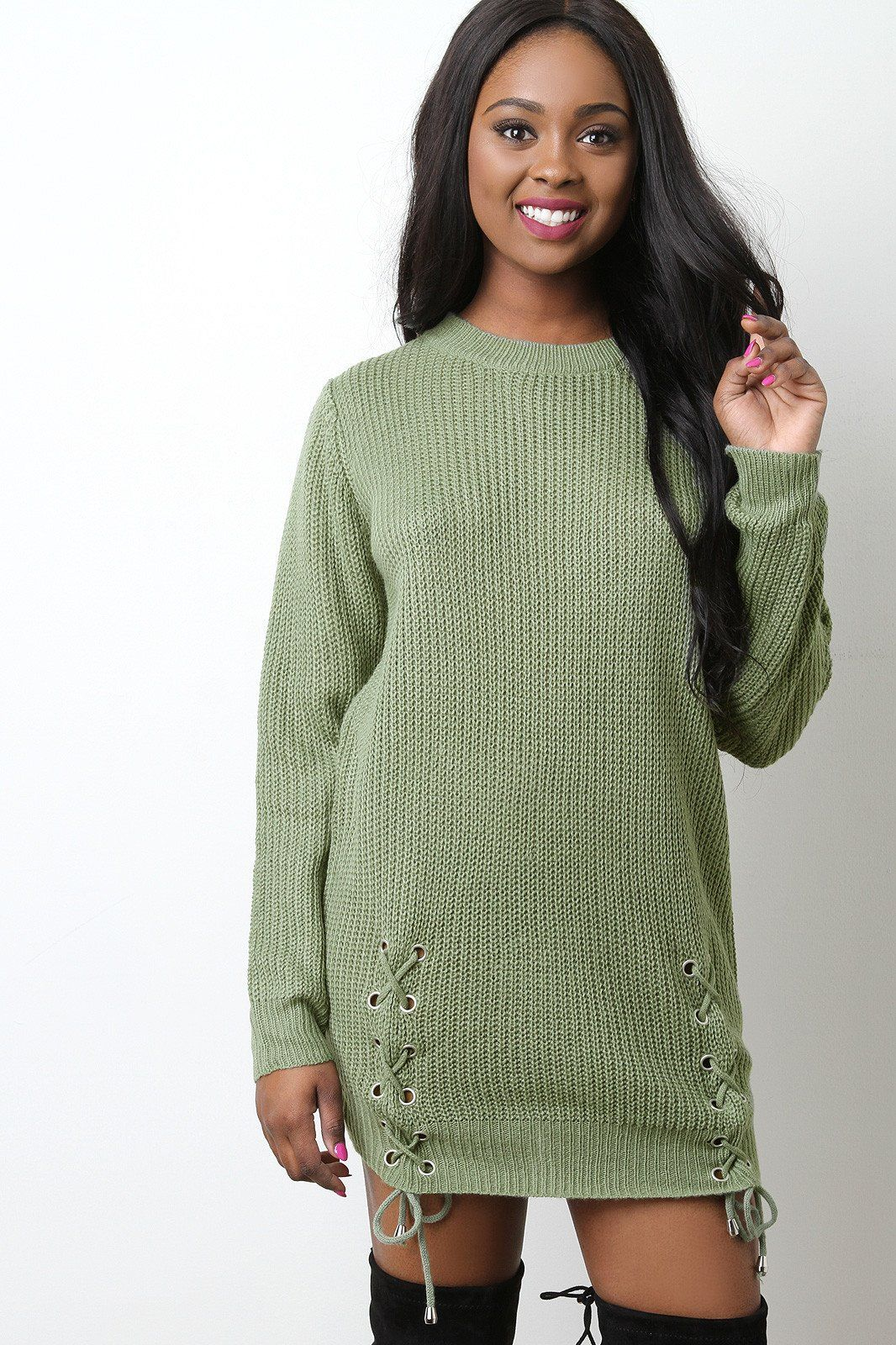 Side lace up sweater dress products pinterest products