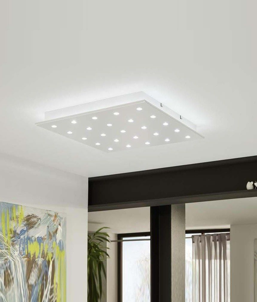 Square 470mm Ceiling Light with Star Effect - Two Finishes ...