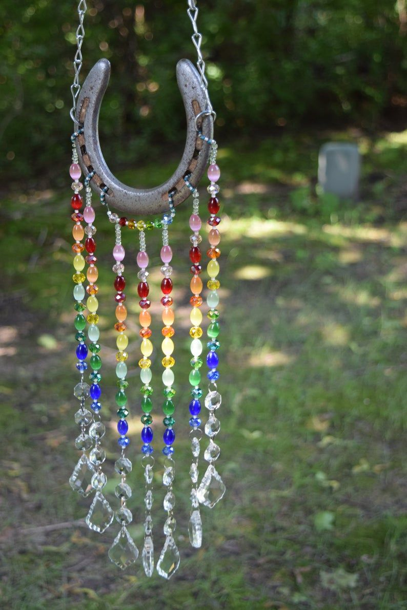 Horseshoe Sun Catcher, Rainbow Sun Catcher, Garden Art, Yard Decor