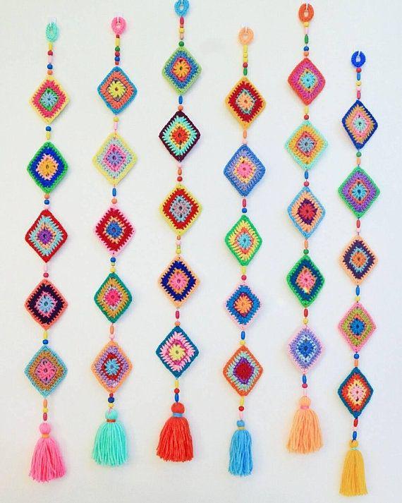 A Shine Bright Like A Diamond hanging decoration, wall decoration. PDF Crochet Pattern Boho Decor. DIY Boho decorating. granny diamond #picturewallideas