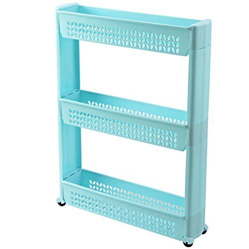 Sunlightam Slim Slide Out Kitchen Bathroom Storage Trolley Shelf Rack On Wheelsblue