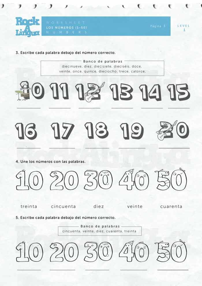 Numbers 1 50 Worksheet Rockalingua Spanish Numbers Preschool Spanish Words