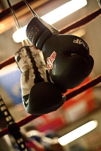 Boxing gloves ringside