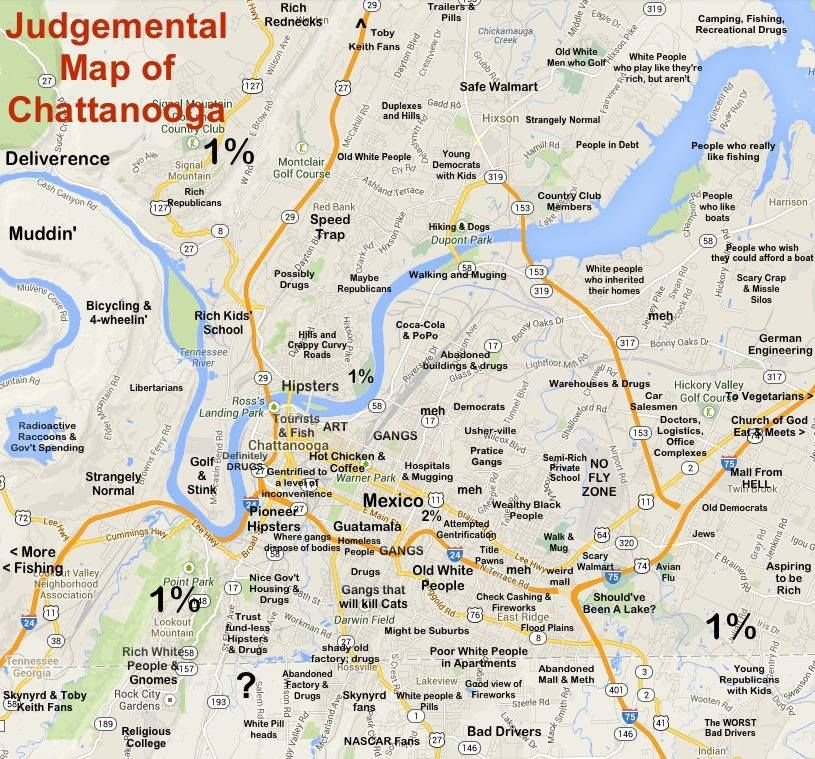 An image showing a Google map of Chattanooga superimposed ...