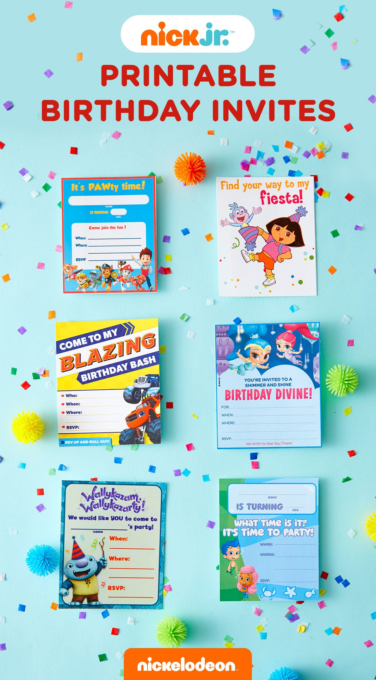 Nick Jr Printable Birthday Party Invitations