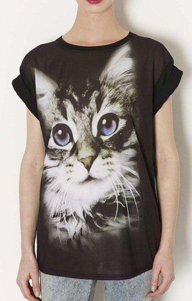 Digital Cat Printing Short Sleeves Casual T-shirt