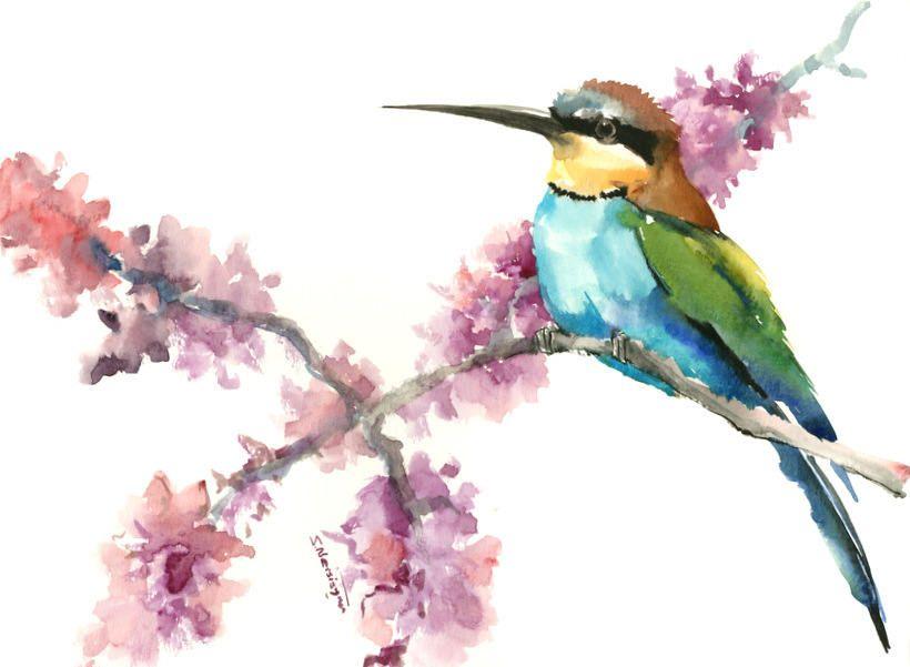 Birds And Flowers Bee Eater Bird Art Bird Painting Etsy