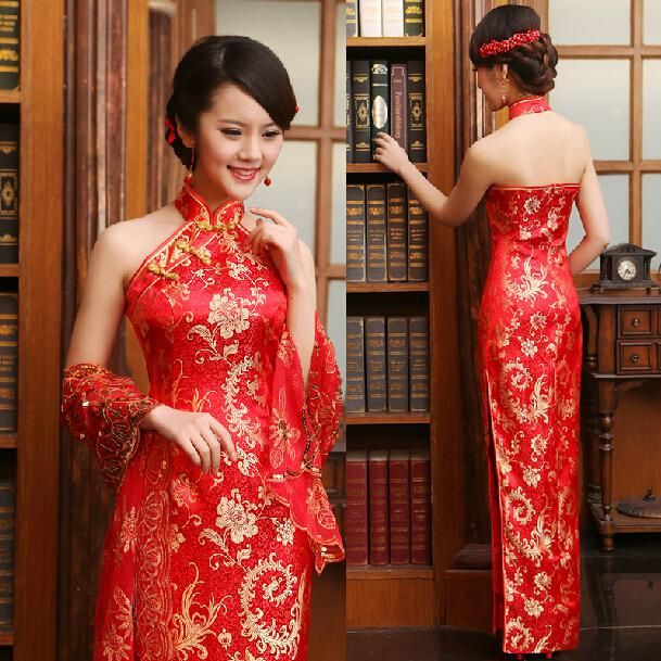 Lovely Luxury Women Lace Silk Slim Chinese Dresses Long Cheongsam Dress Improved Red Halter Neckline Backless Bridal