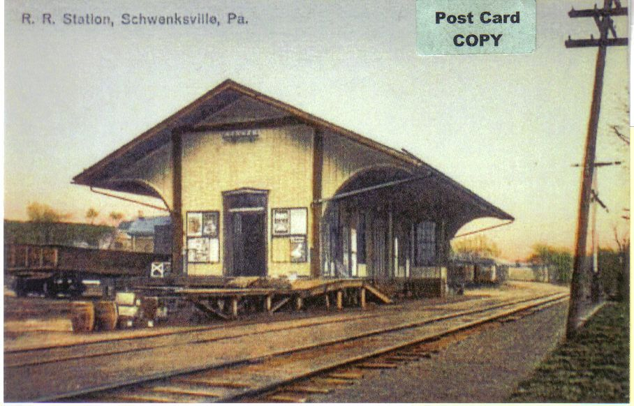 "P R ""Reading"" Railroad Depot Train Station at Schwensville Montgomery Co PA 