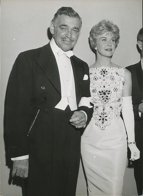 """Clark Gable & Doris Day, 1958.  They appeared together in the movie, """"Teacher's Pet"""", released the same year."""