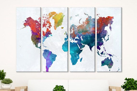Watercolor World Map World Travel Map Wall Art Canvas World Map Wall