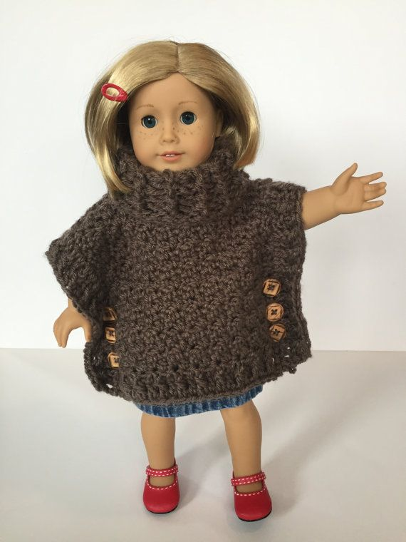 Crochet PATTERN Doll Poncho- Cowl neck - Crochet Pattern Doll Poncho ...