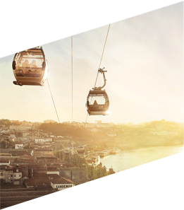 The Gaia Cable Car is a touristic attraction and a sustainable mean of transport, connecting Gaia riverside promenade to the upper deck of D. Luis I bridge over river Douro.