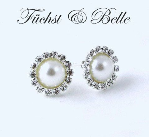 White Pearl Stud Bridal Earrings Round By Versabellabridals 28 00