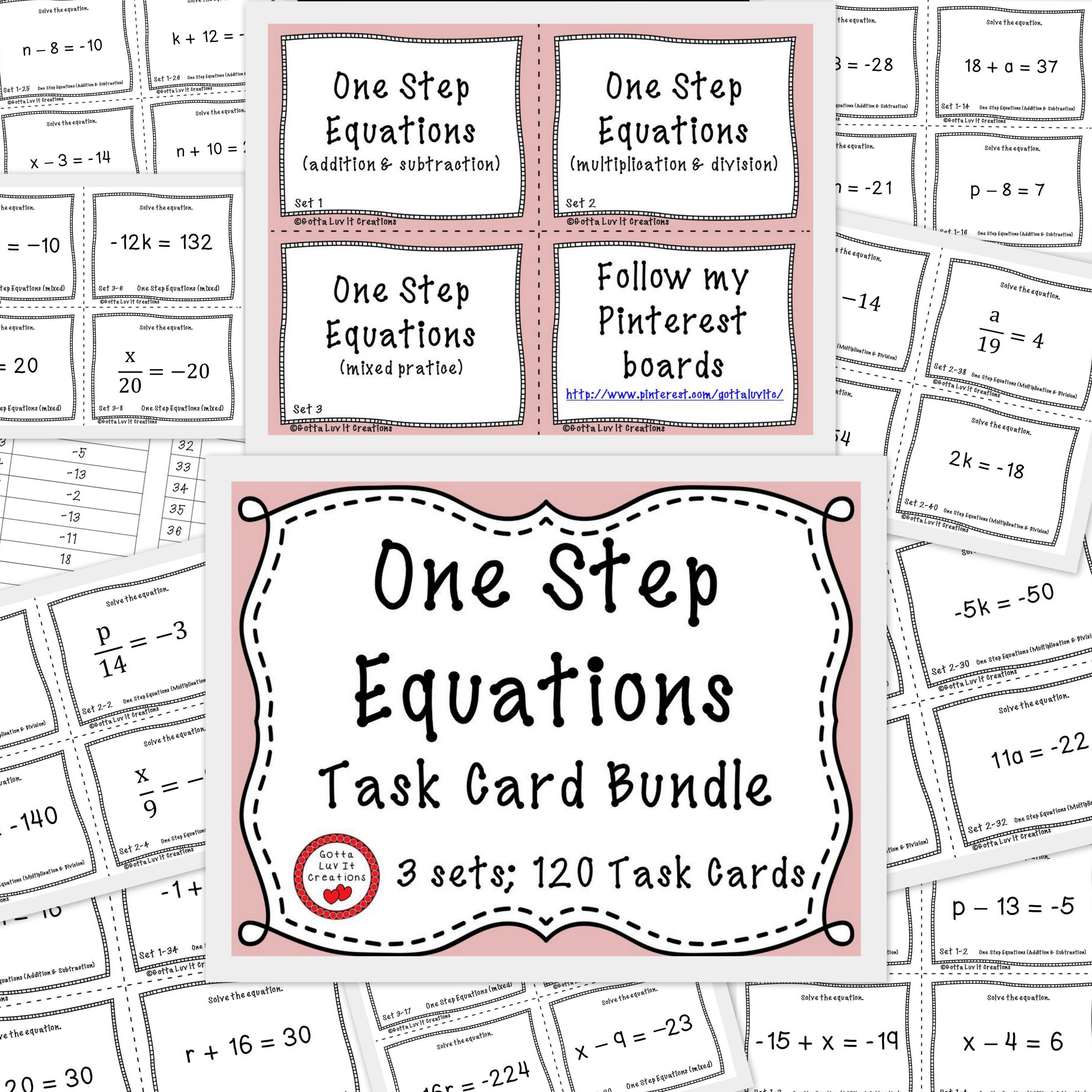 120 Task Cards 3 Sets Covering One Step Equations See