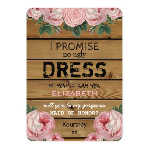 Country Bridesmaid Invitation Will you be my Maid of Honor | Rustic Bridesmaid Card