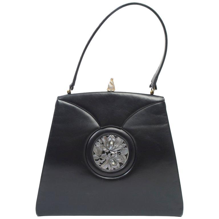 1stdibs 1960s Handbag With Pearl Medallion T60yY3