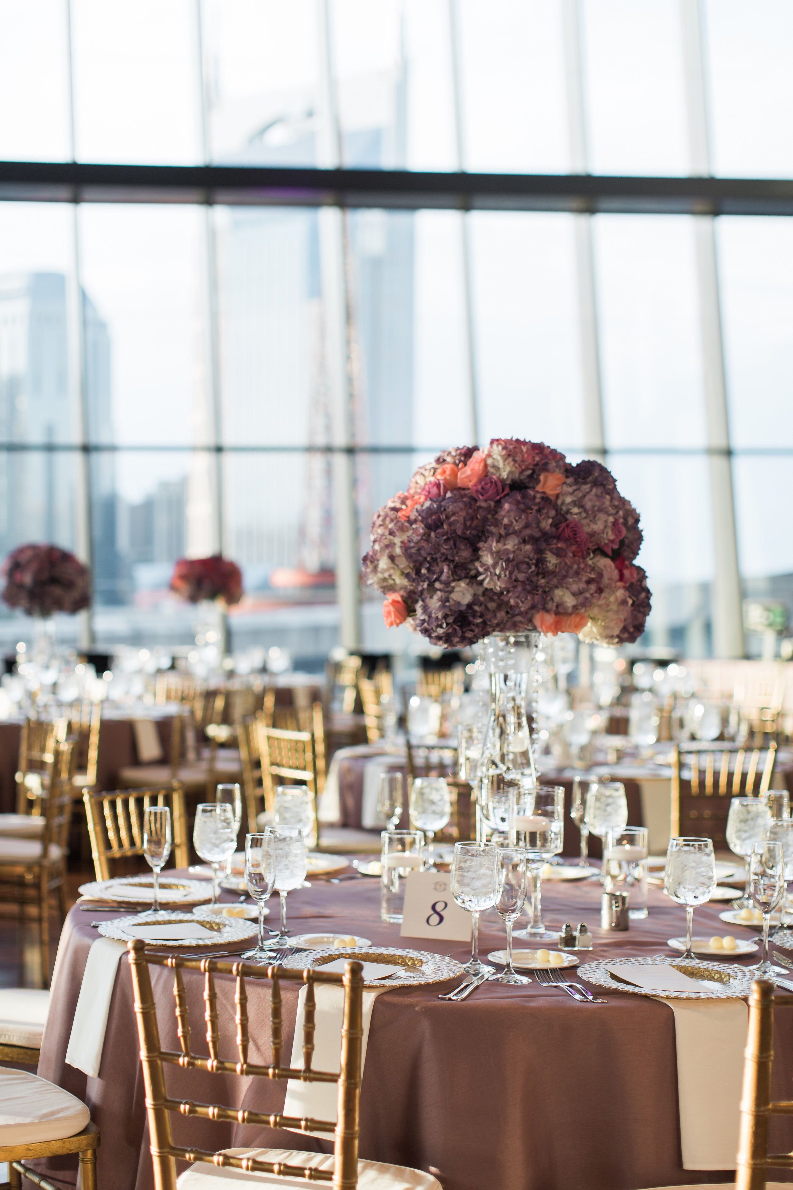 Luxury Nashville wedding at the Country Music Hall of Fame, table design and floral toppers by Nashville Wedding Planner and designer Paige Brown Designs