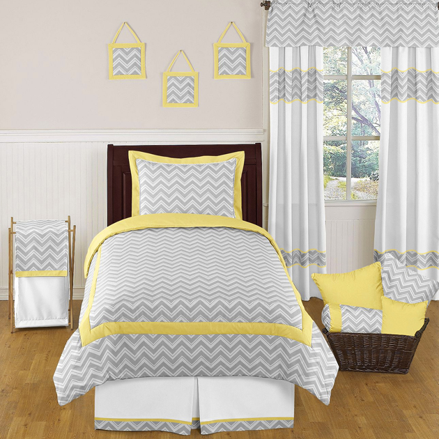 Sweet Jojo Designs Zig Zag Yellow And Gray 4 Piece Twin Bedding Collection Kids Bedding Sets Twin Comforter Sets Chevron Bedding