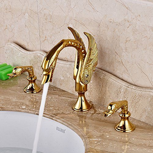 Bathroom Faucets Diy Rozin Swan Shape Widepsread 3 Holes