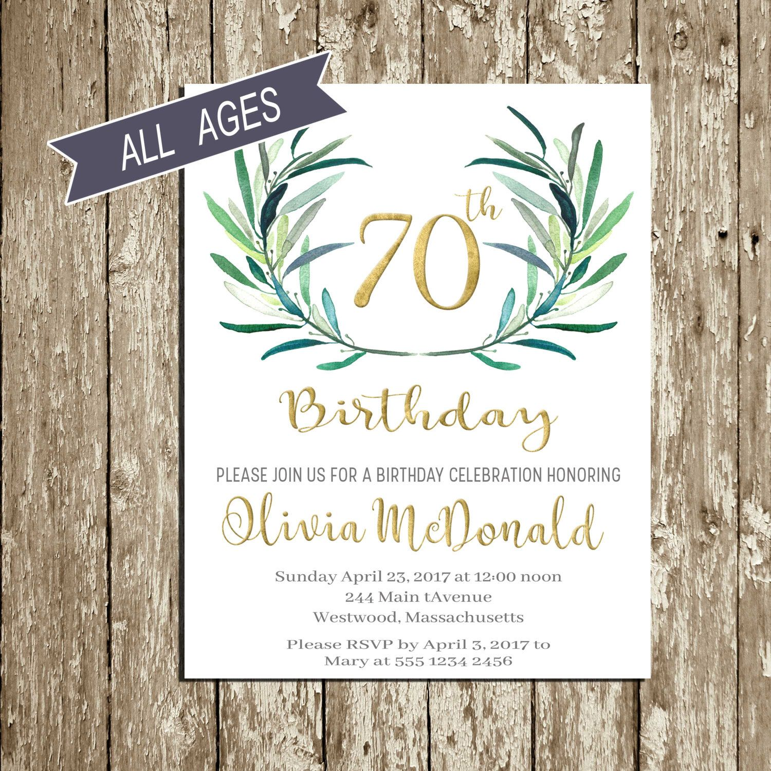 Birthday Brunch 70th Parties Gold 90th Invitations Woman