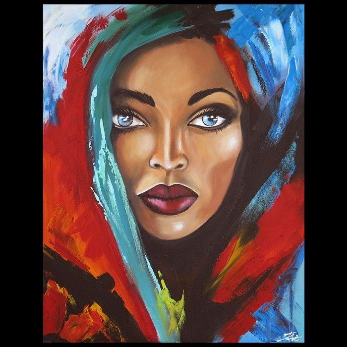 Uitzonderlijk Schilderijen schilderij vrouw met blauwe ogen Kunst | Figuratieve @IA46