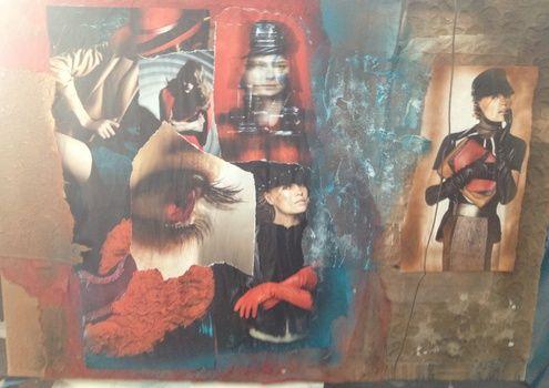 intuïtieve' collages met mixed media op doek