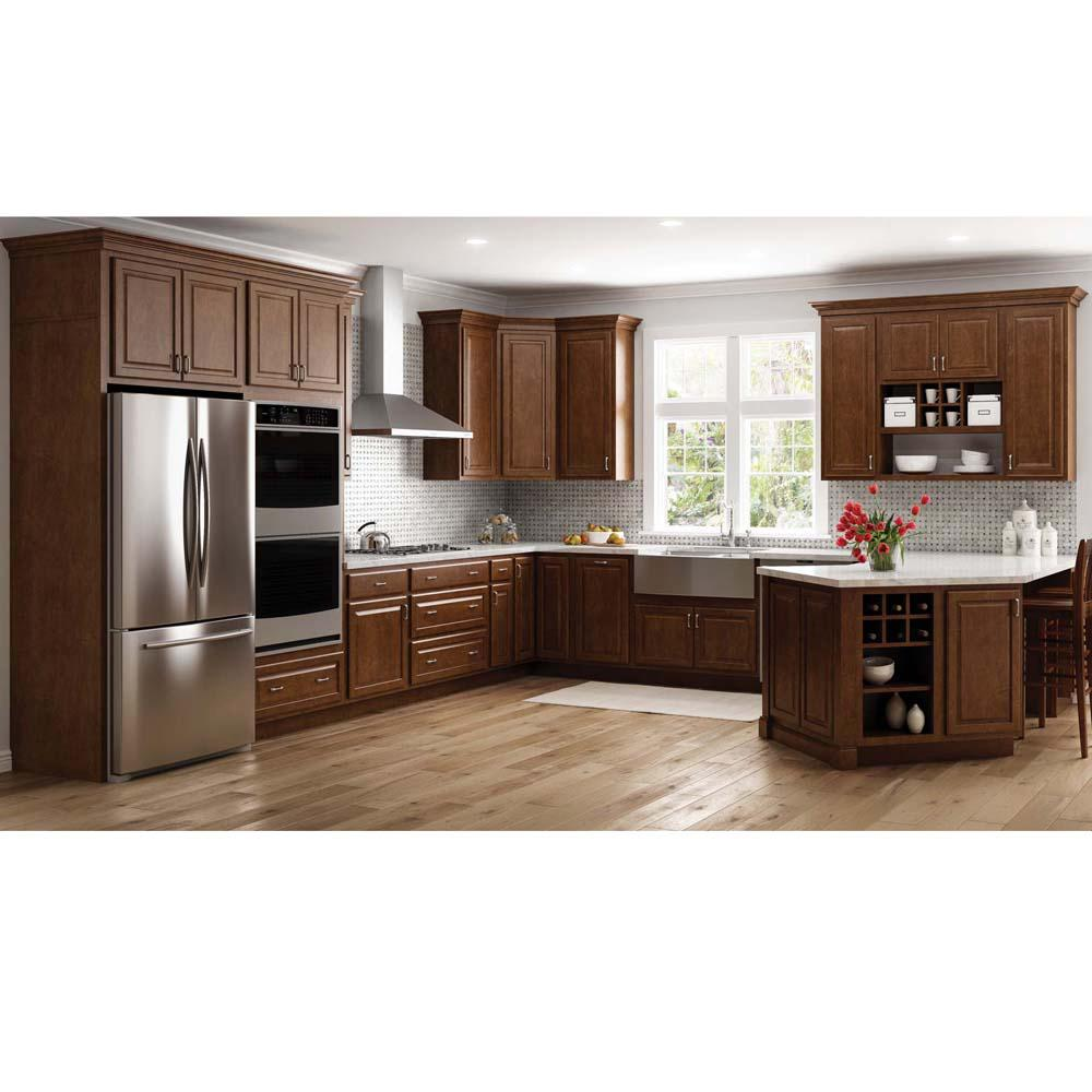 Hampton Bay Hampton Assembled 30x34 5x24 In Base Kitchen Cabinet With Ball Bearing Drawer Glides In Cognac Kb30 Cog The Home Depot Kitchen Remodel Small Kitchen Design Kitchen Renovation