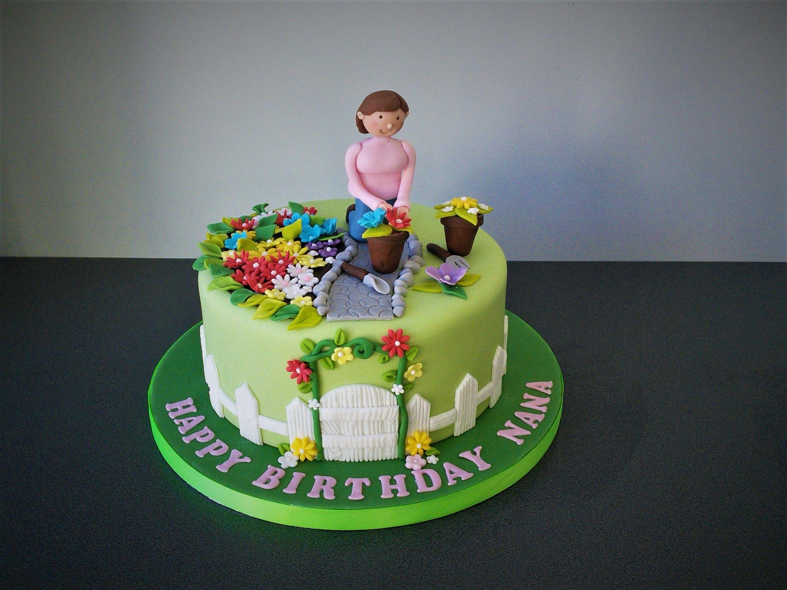 Peachy Lady Gardening Cake Cake Garden Cakes Birthday Cakes For Women Funny Birthday Cards Online Overcheapnameinfo