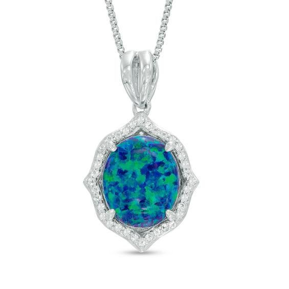 Zales Cushion-Cut Lab-Created Opal and White Topaz Framed Pendant in Sterling Silver otBzV