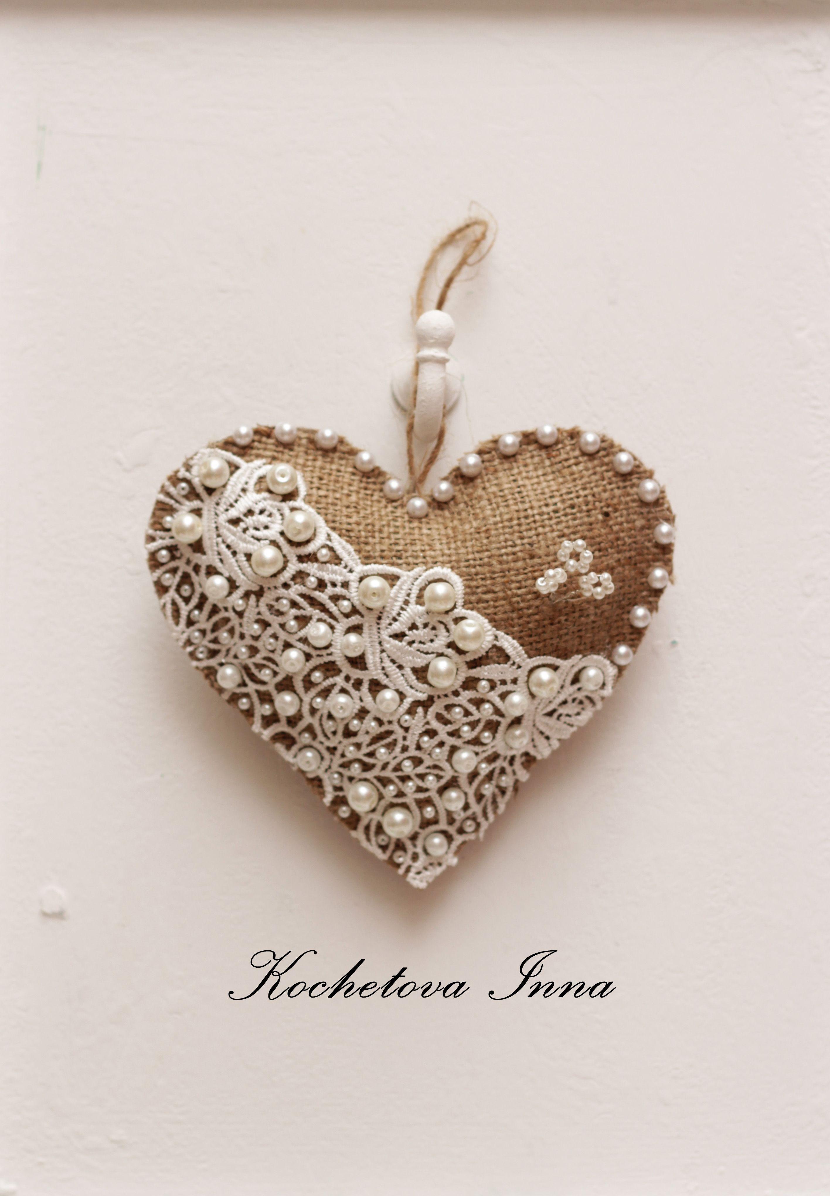 Metal heart ornaments -  Burlap Lace Ideas Burlapandlace Valentinesday Burlap Heart Burlapheart