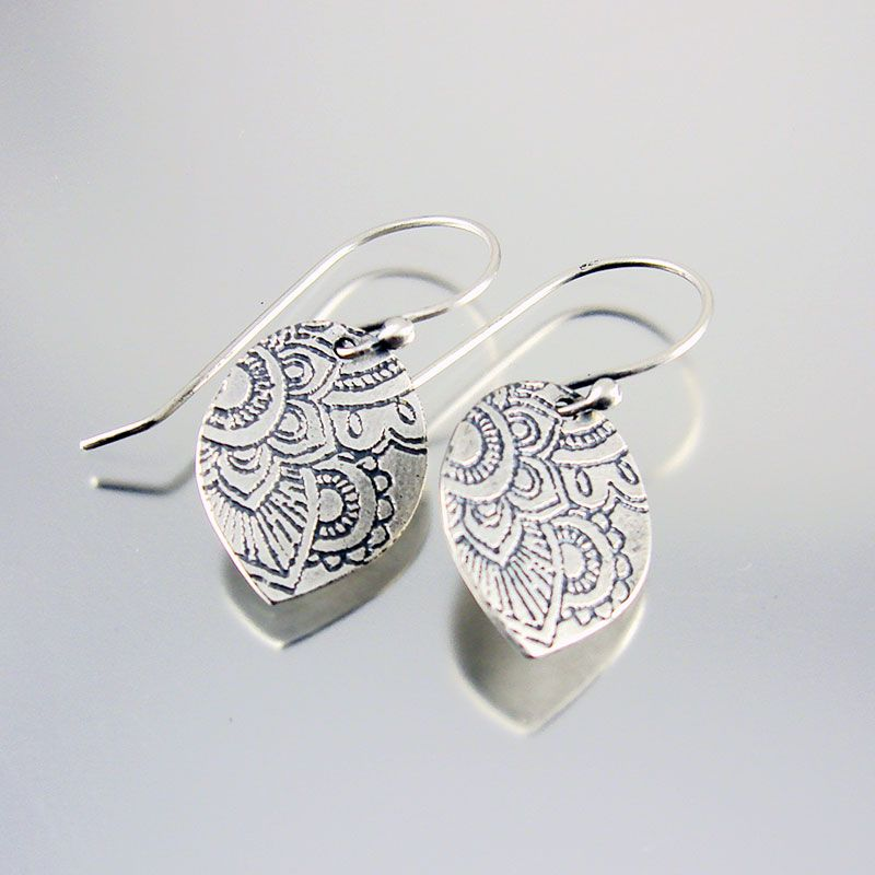 Mehndi Earrings In Sterling Silver Handmade Etched Indian Pattern Texture