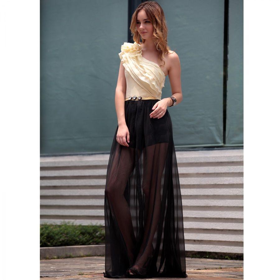 Riza in Yellow & Black Asymmetric Evening Dress - $467.00. http://www.youngrepublic.com/women/dresses/evening/riza-in-yellow-black-asymmetric-evening-dress.html