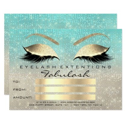 Lux Lashes Blue Ivory Gold Makeup Certificate Gift Card  Faux