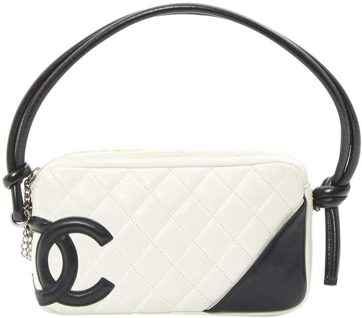 fe33e692f Vintage pouch Cambon line in white quilted lambskin leather and black  leather detail #chanel #bags #handbags #purse #clutch #affiliate #shopstyle  #mystyle