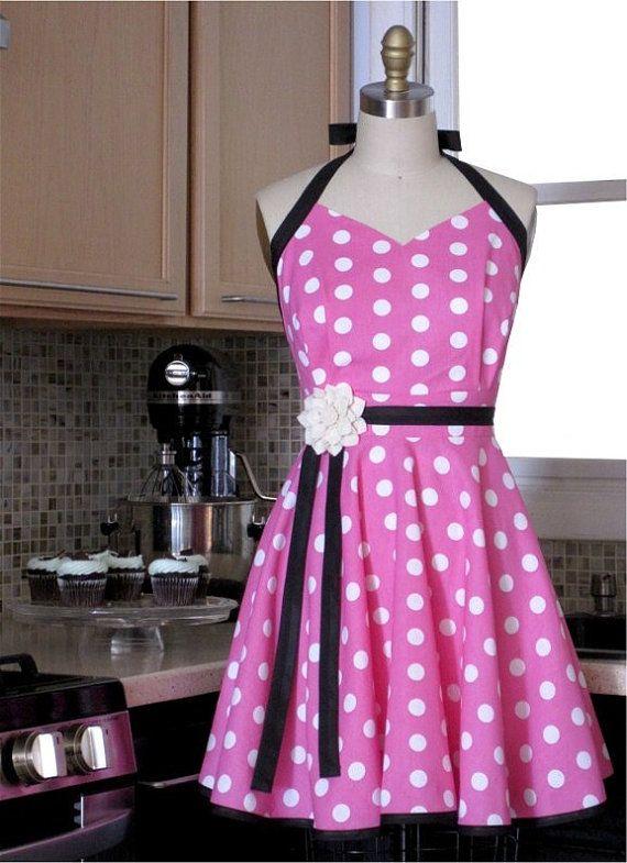 Pink Polka Dot Apron  Pink and White Polka Dot by twodesigndivas, $33.50