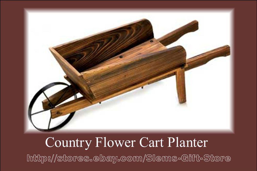 COUNTRY FLOWER CART PLANTER YARD LAWN DECOR ART WOOD WAGON