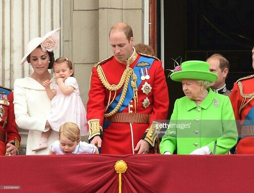 Prince Charles, Catherine Duchess of Cambridge, Prince George, Princess Charlotte, William Duke of Cambridge, Queen Elizabeth II, Prince Philip, Prince Edward. On the balcony after the Trooping of the Colour. June 11 2016