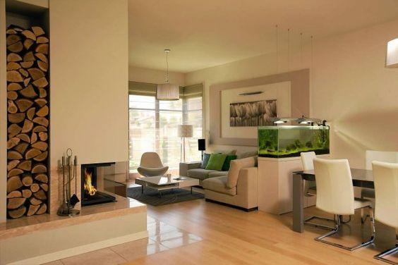 aquarium raumteiler ideen wohnzimmer essbereich weiß beige - wohnzimmer mit essbereich ideen