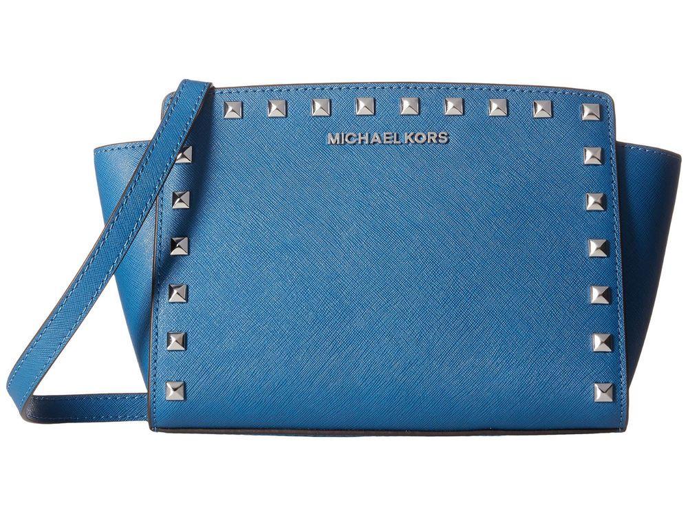 ed341cef759a Michael Kors SELMA STUD Medium MESSENGER Saffiano Leather STEEL BLUE Purse  NWT  MichaelKors  MessengerCrossBody