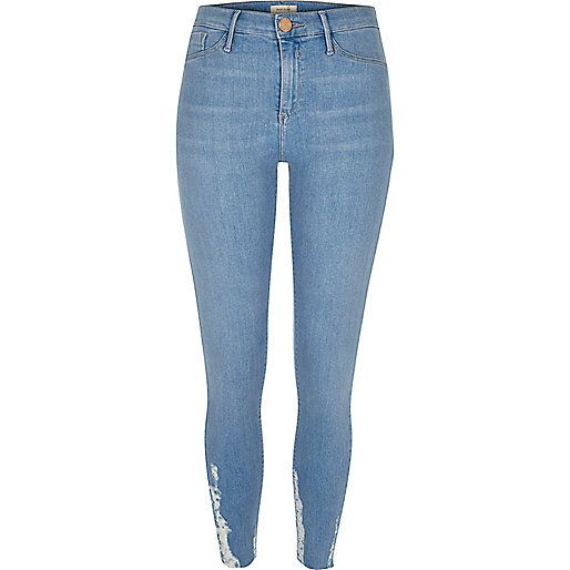 Light wash chewed hem Molly jeggings - jeggings - jeans - women ...